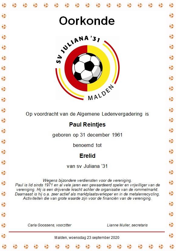 Paul Reintjes erelid van de vereniging